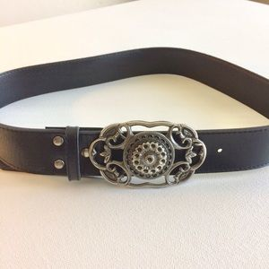 Black Leather Belt Silver Ornate Octagon Buckle